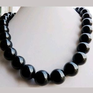 REAL Genuine black agate 12mm stone necklace AAA